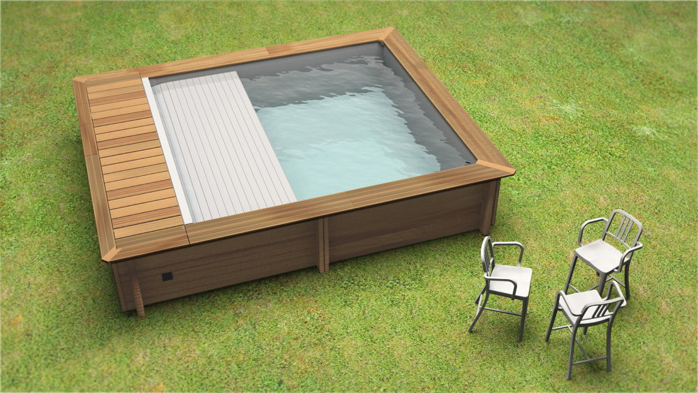 Holzpool hoody swimmingpool gartenpool for Swimming pool 4 eckig