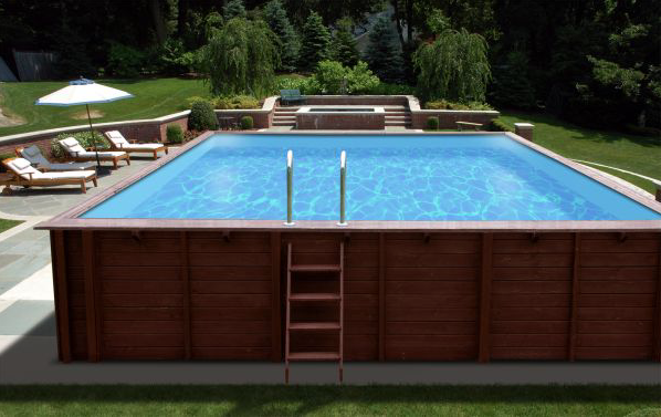 GroBartig Holzpool 8x5m Mega Schwimmbecken Blockbohlen Bausatz Swimmingpool Gartenpool