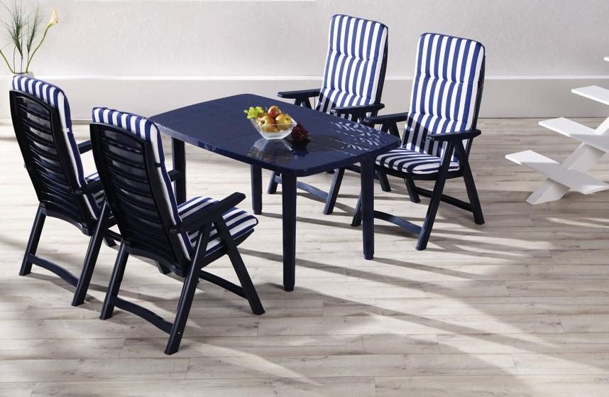 Gartenmobel Set Poco Domane : GartenmöbelSet BEST «Santiago 9 tlg» blau KunststoffGartenmöbel