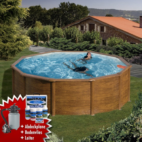 Mypool stahlwandbecken swimmingpool set holzoptik rund 3m for Swimmingpool stahl