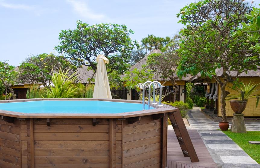 Garten holzpool schwimmbecken swimmingpool 8 eck for Garten pool eingraben