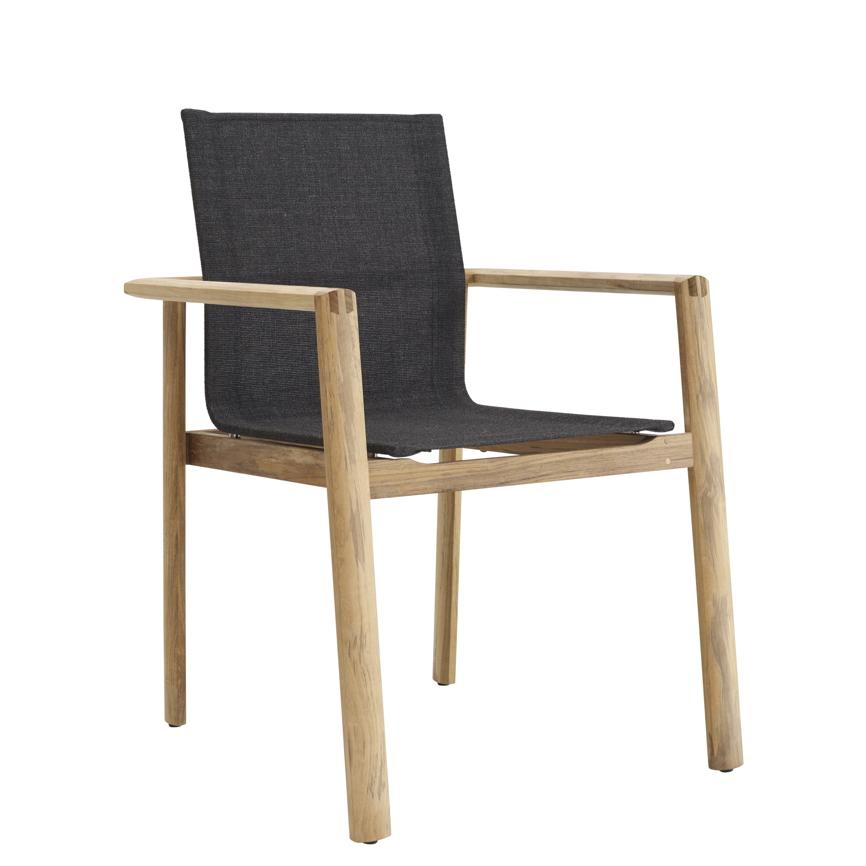 gartenstuhl solpuri safari stapelsessel teakholz textilene vom swimmingpool fachh ndler. Black Bedroom Furniture Sets. Home Design Ideas