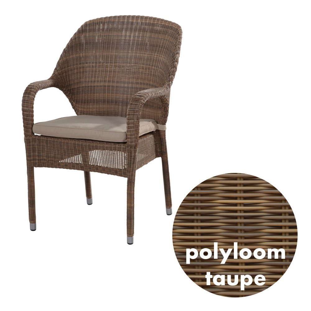 gartenstuhl 4seasons sussex polyloom taupe stapelsessel rattan mit kissen vom swimmingpool. Black Bedroom Furniture Sets. Home Design Ideas