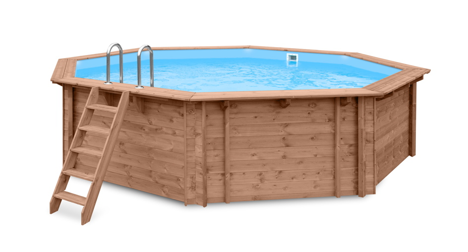 garten holzpool schwimmbecken swimmingpool 8 eck gartenpool inkl treppe vom. Black Bedroom Furniture Sets. Home Design Ideas