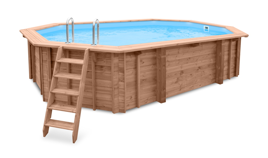 Holzpool ovales schwimmbecken 6x4m 8 eck pool swimmingpool for Swimming pool 4 eckig