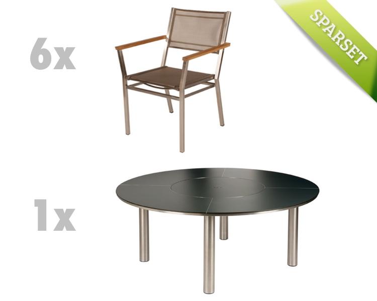 Sitzgruppe barlow tyrie equinox dining set 4 titanium for Stahlwandbecken holzoptik
