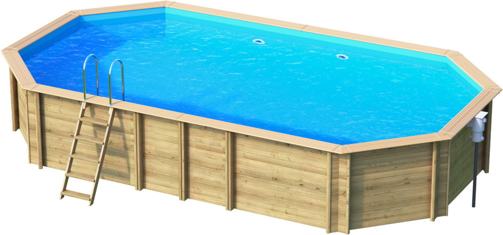 Holzpool oval schwimmbecken blockbohlen bausatz for Gartenpool grau
