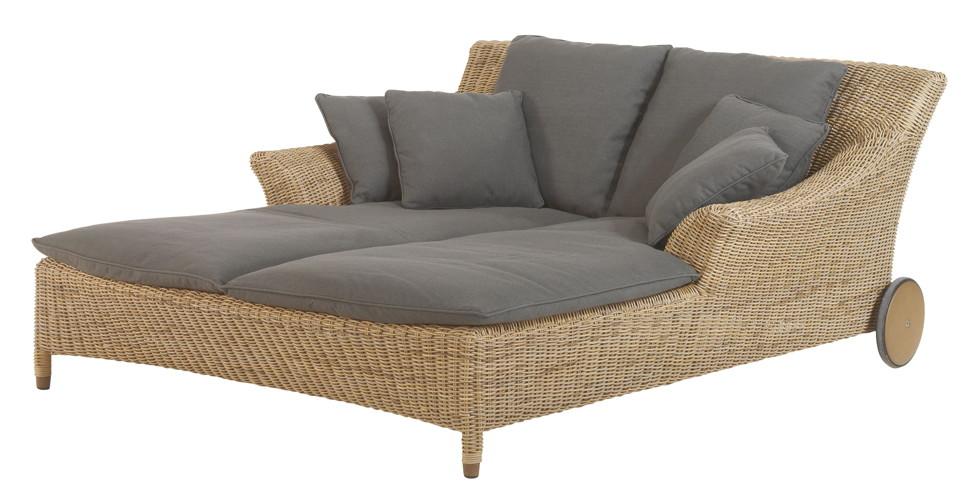 gartenliege 4seasons valentine pure doppelliege korbliege geflecht rollen vom. Black Bedroom Furniture Sets. Home Design Ideas