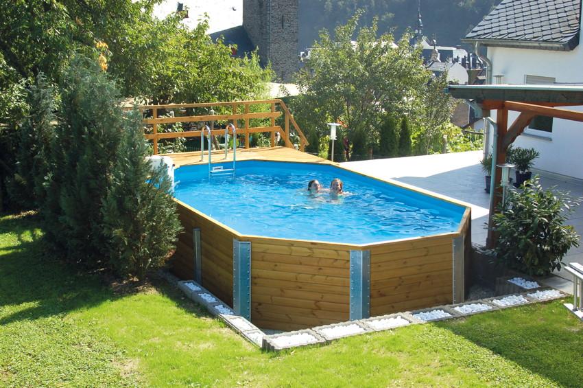 holzpool weka korfu - schwimmbecken aus holz, swimmingpool, Garten und Bauen